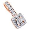 "10K Rose Gold Round Diamond Cluster Fancy Slide Pendant 0.60"" Pave Charm 1/5 CT."