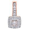 "10K Rose Gold Round Diamond Cluster Fancy Slide Pendant 0.75"" Pave Charm 1/3 CT."