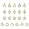 10K Two Tone Gold CZ Script Initial in Circle Charms Frame Pendants | A to W