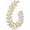 14K Yellow Gold Real Diamond Leaf Frame Oval Wreath Cluster Slide Pendant 3/4 CT