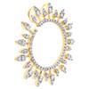 14K Yellow Gold Round Diamond Open Cricle Cluster Slide Pendant Sun Charm 3/4 CT
