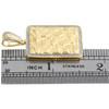 "10K Yellow Gold Diamond Nugget Ore Rectangle Frame Pendant 1.60"" Charm 0.32 CT."