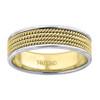 14K Two Tone Gold Men's Quad Rope Milgrain Design 6.5mm Wedding Band Size 9 - 13