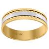 14K Two Tone Gold Men's Polished Center w/ Milgrain 6mm Wedding Band Size 9 - 13
