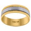 14K Two Tone Gold Men's Brushed Center Rope Milgrain 7mm Wedding Band Sz 9 - 13