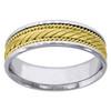 14K Two Tone Gold Men's Braided Rope & Milgrain 6mm Wedding Band Sizes 9 - 13