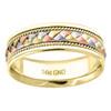 14K Tri Color Gold Men's Woven Cord Design Center 7mm Wedding Band Sizes 9 - 13