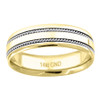 14K Two Tone Gold Men's Double Rope Milgrain 6mm Wedding Band Size 9 to 13
