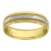 14K Two Tone Gold Men's Diamond Cut & Milgrain 6.5mm Wedding Band Size 9 - 13