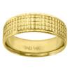 14K Yellow Gold Men's Multi-Grooved Center & Milgrain 7mm Wedding Band Sz 7 - 12