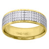 14K Two Tone Gold Men's White Multi Grooved Center 7mm Wedding Band Sizes 7 - 12