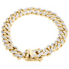 10K Yellow Gold 11mm Solid Miami Cuban Box Clasp Simulated Diamond Bracelet 8.2""