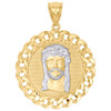 "10K Two-Tone Gold Jesus Head Diamond Cut Miami Cuban Link 1.90"" Medallion Charm"