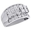14K White Gold Round Diamond Cluster Wedding Band 13mm Channel Set Bar Ring 3 CT