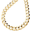 14K Yellow Gold 10mm Solid Plain Curb Cuban Chain Link Necklace 20 - 30 Inches