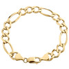 14K Yellow Gold 10mm Solid Plain Figaro Link Bracelet Lobster Clasp 8 - 9 Inch