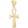 "10K Yellow Gold Diamond Cut Egyptian Ankh Cross Pendant 1.05"" Textured Charm"