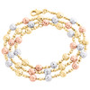 14KT Tri Color Gold 6mm Candy / Moon Cut Italian Bead Chain Necklace 18 Inches