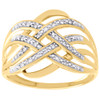 10K Yellow Gold Real Round Diamond Multi-Row Crossover Fashion Pave Ring 1/20 CT