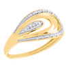 10K Yellow Gold Real Diamond Multi Loop Frame Split Shank Band Ring  1/20 CT.