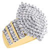 10K Yellow Gold Diamond Cluster Marquise Statement Ring Right Hand Band 1 CT.