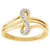 10K Yellow Gold Infinity Split Shank Diamond Engagement Promise Ring 0.04 CT.