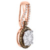 14K Rose Gold Brown Diamond Flower Pendant Cluster Necklace 0.50 CT.