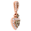 10K Rose Gold Brown Diamond Heart Pendant Halo Necklace  0.50 CT.