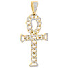 "10K Yellow Gold Diamond Ankh Cross Miami Cuban Design Pendant 2.9"" Charm 7/8 CT."