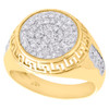 Real 10K Yellow Gold & Cubic Zirconia Greek Key Dome Frame 16mm Pinky Ring Band