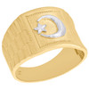 10K Yellow Gold Two Tone Islamic Moon & Crescent Symbol Statement Ring 14mm Band