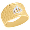 10K Yellow Gold Two Tone Arabic Script Allah Dome Statement Pinky Ring 14mm Band