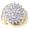 10K Yellow Gold Diamond Cocktail Right Hand Ring Ladies Cluster Style Band 2 CT.