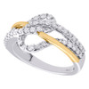 10K Yellow & White Gold Real Diamond Crossover Loop Cocktail Ring Band 5/8 CT.