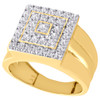 Real 10K Yellow Gold & Cubic Zirconia Tiered Wide Top Pinky Ring Mens Band 14mm