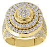 Real 10K Yellow Gold & Cubic Zirconia Step Shank Round Tier Pinky Ring Band 20mm