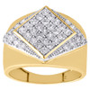 Real 10K Yellow Gold & Cubic Zirconia Rhombus Wide Top Pinky Ring Mens Band 16mm