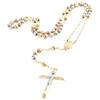 "10K Gold  Tri-Color Virgin Mary Rosary Cross Diamond Cut Bead 6mm Necklace 26"""