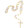10K Gold Multi-Color Virgin Mary Rosary Cross Diamond Cut Bead 8mm Necklace 28""