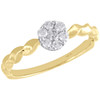 10K Yellow Gold Diamond Flower Cluster w/ Braided Shank Right Hand Ring 1/4 Ct.