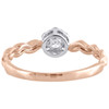 10K Rose Gold Diamond Flower Cluster w/ Braided Shank Right Hand Ring 1/4 Ct.