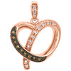 10K Rose Gold Brown Diamond Curved Cut Out Heart Pendant Designer Charm 1/8 Ct.