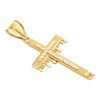 10K Yellow Gold Diamond Cut Raised Nugget Cross Pendant Blood Drip Charm 2""