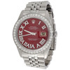 Diamond Roman Numeral Red Dial to Fit DateJust Rolex 36mm Quick Set 1/2 CT.