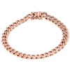 10K Rose Gold 8mm Solid Miami Cuban Box Clasp Simulated Diamond Bracelet 8.50""