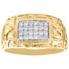10K Yellow Gold Mens Round Diamond Nugget Ore Pinky Ring Statement Band 1/3 CT.
