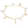 10K Multi Gold 2.50mm Rolo Link Turtle Moon Elephant Heart Sun Charm Anklet 10""