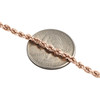 10K Rose Gold Semi Solid Diamond Cut Rope Link Bracelet 3mm Lobster Clasp 8.25""