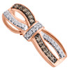 """10K Rose Gold Brown & White Diamond Infinity Bow Slide Pendant 0.85"""" 1/4 CT."""