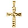 "10K Yellow Gold Miami Cuban Link Diamond Cross Pendant 1.95"" Pave Charm 1.18 CT."